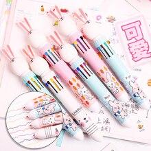 Cute Rabbit Ten Color Ball Point Pen. Creative Fairy Multi Color Bullet Point Pen Student Stationery стоимость