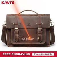 KAVIS Free Engraving Quality Men Bag Genuine Cow Leather Messenger Bags Luxury Male Business Handbag Men's Laptop Travel Hot
