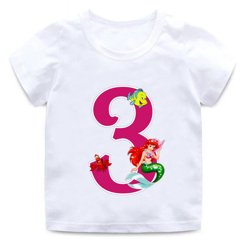 new children cartoon princess best birthday gift number funny white T-shirt fish clothes boy girl round neck T-shirt,BAL568 image