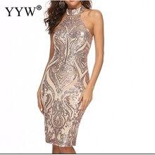 С Лямкой на шее, кроткое, для официальных мероприятий, вечернее платье, блестки платье без рукавов облегающее элегантные коктейльные платья для Для женщин пикантные роковой женщины