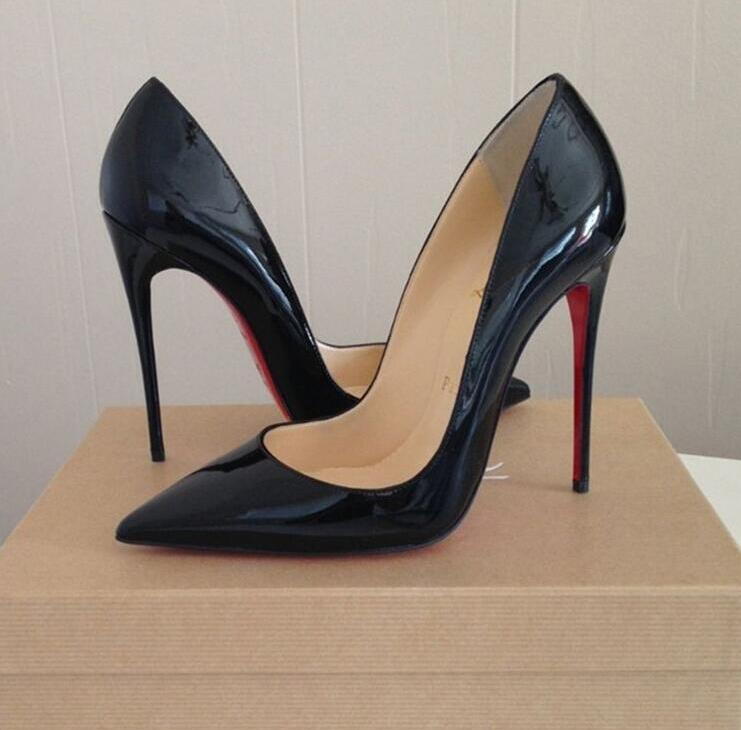 2021 Luxury Pumps Brand Red High Heel Sexy Wedding Shoes Genuine Leather High Heel 8 10 12cm Women Red Shoes Ladies Shoes 35-44