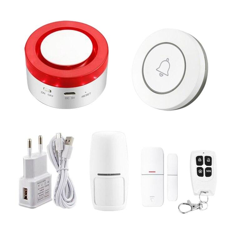Hot Smart WiFi Home Security Alarm System 433MHz Wireless Strobe Siren Alarm Compatible With Alexa Google Home IFTTT Tuya APP EU