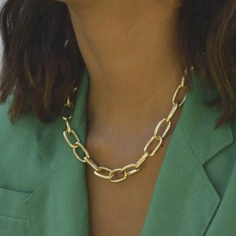 Modyle Punk Choker Necklace Collar Statement Hip Hop Big Chunky Aluminum Gold Color Thick Chain Necklace Women Jewelry(China)
