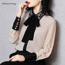 WHITNEY WANG bluzlar 2020 bahar moda zarif elmas boncuk yaka yay bluz kadınlar Blusas ofis bayan gömlek üst