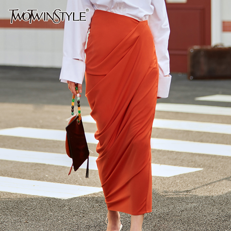 TWOTWINSTYLE Asymmetrical Ruched Skirts Female High Waist Side Split Autumn Skirt For Women Irregular Clothing Fashion 2020 Tide