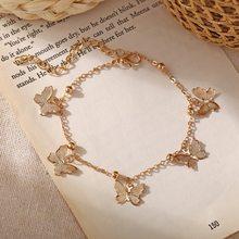 Nova borboleta tornozeleiras para as mulheres praia boho oco ouro cor borboleta tornozeleira pulseira cadeias atacado jóias bijoux femme