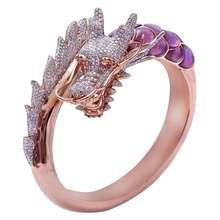Женское кольцо из нержавеющей стали с животным драконом обручальное