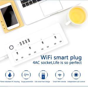 Image 5 - Wifi tira de energia inteligente protetor contra surtos 4 vias tomadas uk tomada elétrica usb homekit controle remoto por alexa google casa