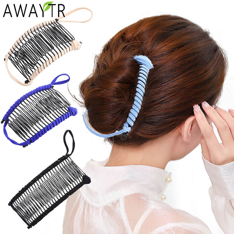 Women Banana Hair Pins Lazy Hair Comb Stretchable Hair Accessories Professional Hair Clip For Women Insert Comb Magic Hair Grips