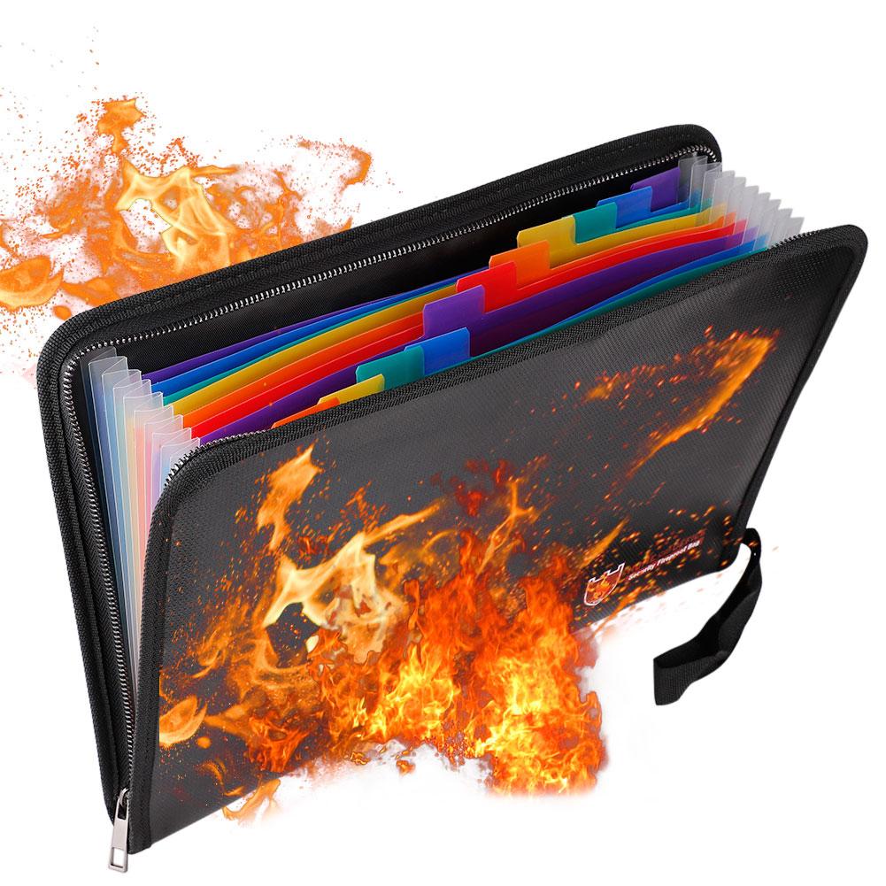 Fireproof File Folder Letter Size Waterproof Folder Organizer Water Resistant Money Document Bag Bills Storage Organizer