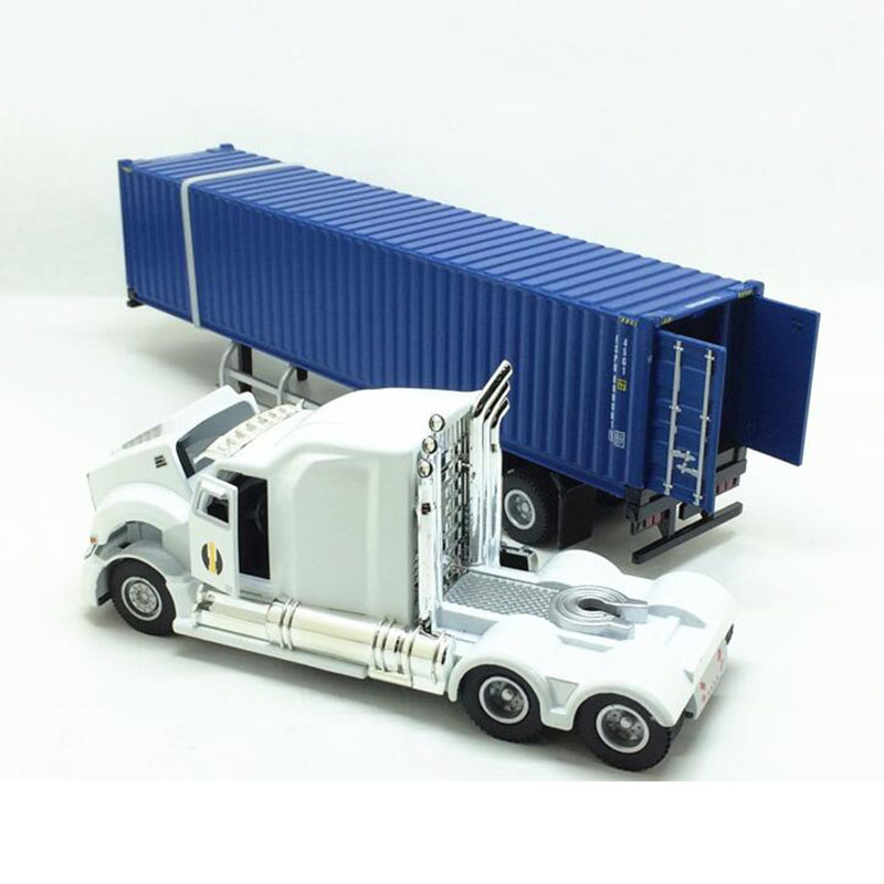 1/43 Alloy Metal 31.5CM American Truck Trailer Container Simulation Die-casting Model Engineering Vehicle Toy Display