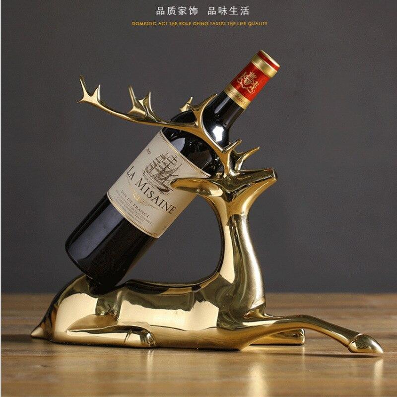 Creative élégant pur cuivre elk casier à vin style salon armoire à vin fer casier à vin décoration artisanat ornements créatifs