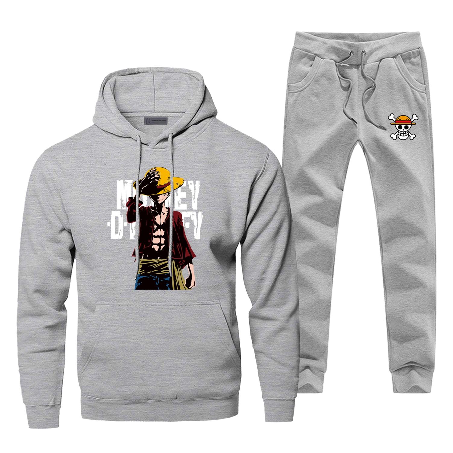 Mens Hoodies One Piece Luffy Sets Two Piece Pant Japanese Anime Hoodie Sweatshirt Sweatpants Streetwear Sportswear Sweatshirts