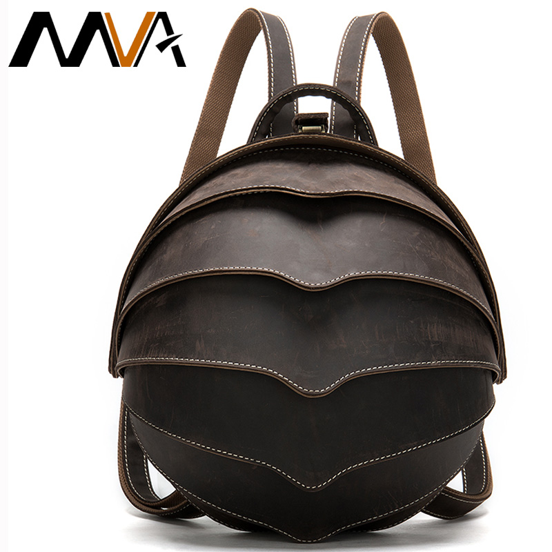 MVA Crazy Horse Leather Backpack Women Vintage Backpack For Womens Bagpack Leather Schoolbag Backpacks Travel Mochila Mujer 4007