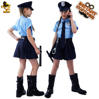 Halloween Kids Police Officer Uniform Costumes Cosplay Girl's Blue Police Dress Costumes for Christmas Party