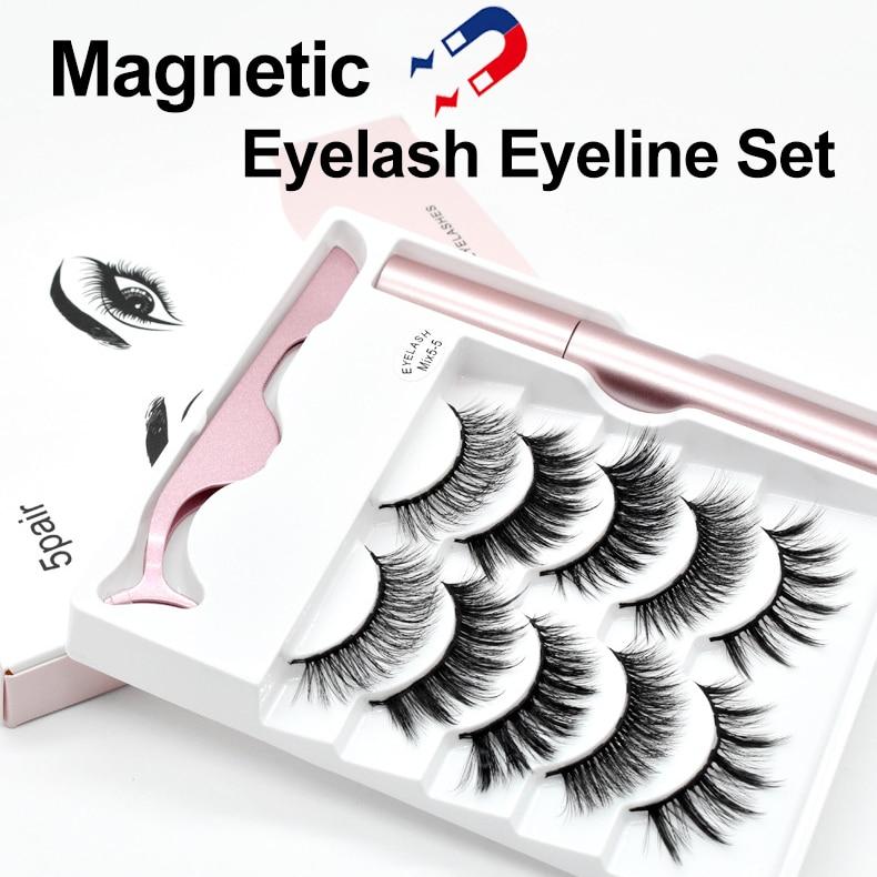 5 Pairs / Set Magnetic False Eyelashes Natural Thick Handmade No Glue Hypoallergenic Magnetic Eyelash With Eyelash Applicator