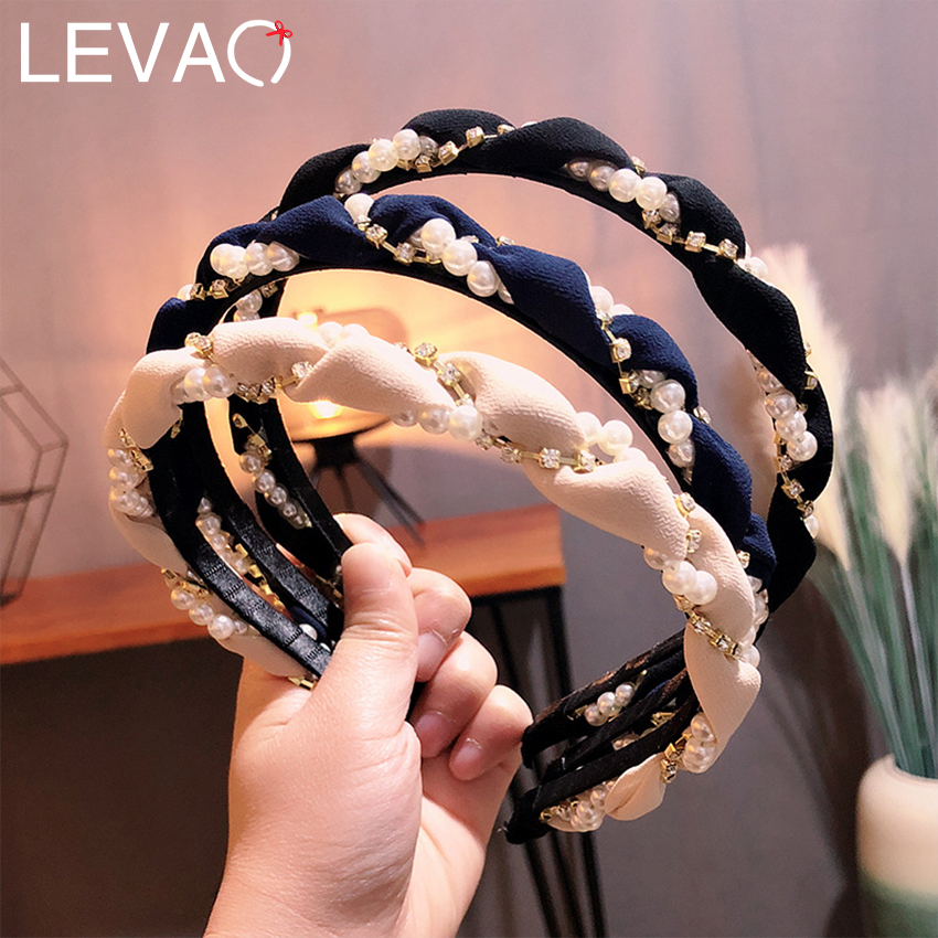 Levao Women Print Braid Hairband Imitation Pearl Winding Headband Hair Accessories Tiara Wave Hairware Charm Hair Hoop Headwear