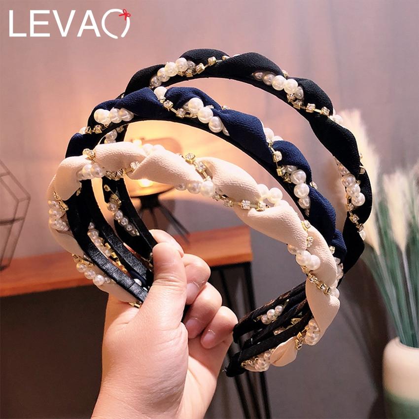 Levao Women Print Braid Hairband Imitation Pearl Winding Headband Hair Accessories Tiara Wave Hairware Charm Hair Hoop Headwear