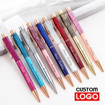 Twórczy złoty folia długopis olejowy kryształowy wafel pióro wysokiej jakości metalowy długopis Signature własne LOGO napis grawerowane nazwa piśmienne