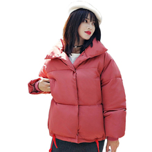 VZFF Stand Collar Breasted Buttons Female Coat Winter Womens Outwear Jackets Autumn Cotton Padded Chaqueta Mujer Invierno