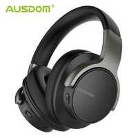 Ausdom anc8 cancelamento de ruído ativo sem fio bluetooth fone de ouvido alta fidelidade graves profundos 20 h playtime bluetooth fone com estojo