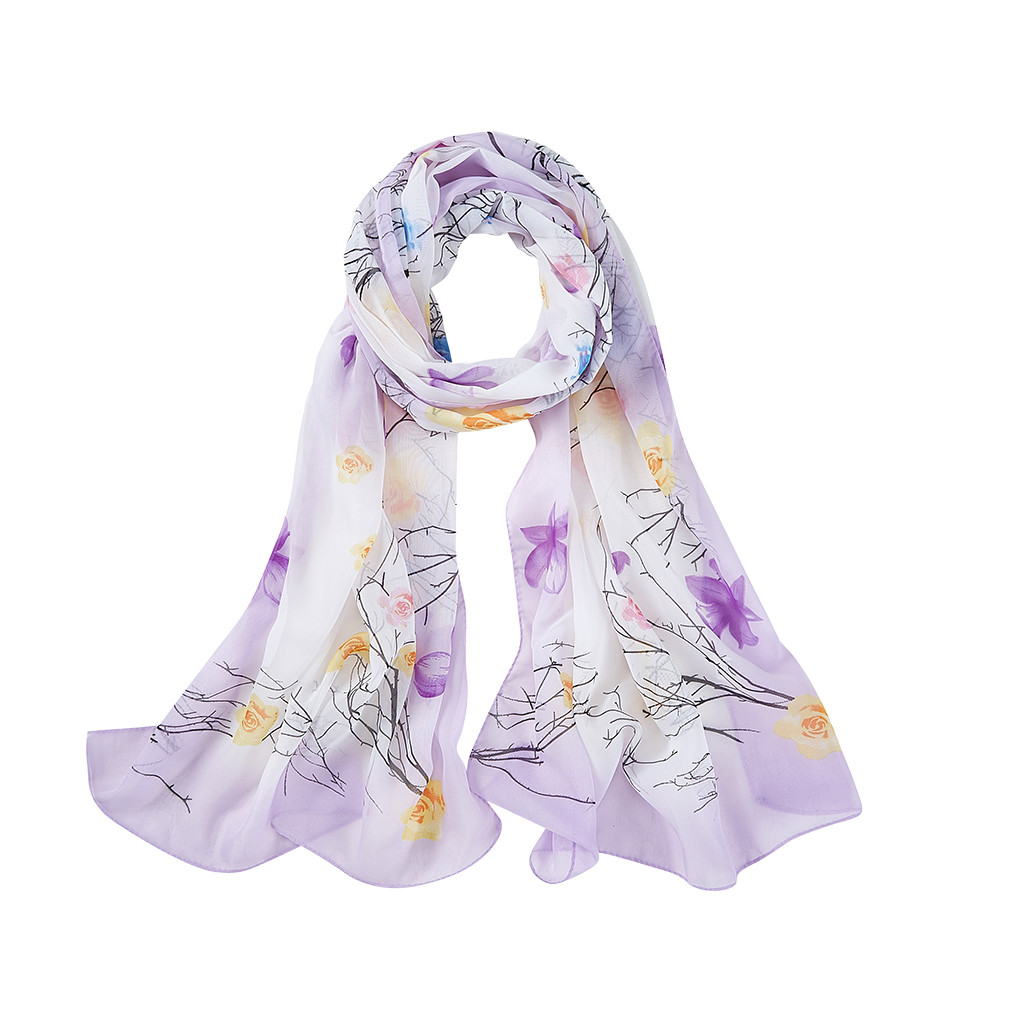 2019 New Autumn Winter Fashion Women's Ladies Chiffon Print Long Soft Wrap Scarf Ladies Shawl Scarf Elegant Bandana Shawl #1003