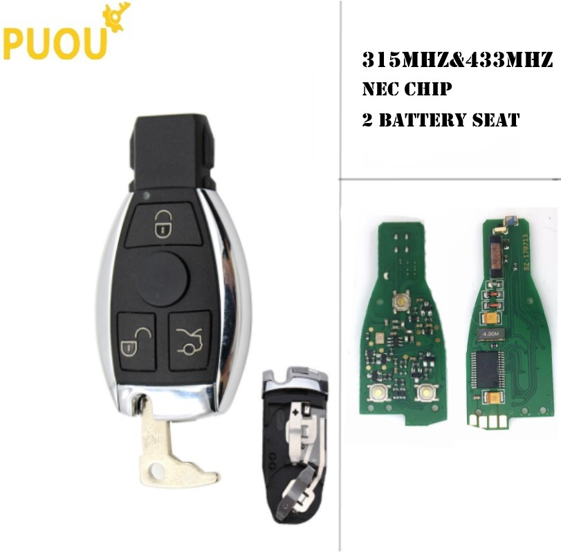 3 Buttons remote key BE 433MHz/315MHz 2 BATTERY for Mercedes Benz NEC CHIP For Mercedes Benz A B C E G R S Class CL CLK CLS GL