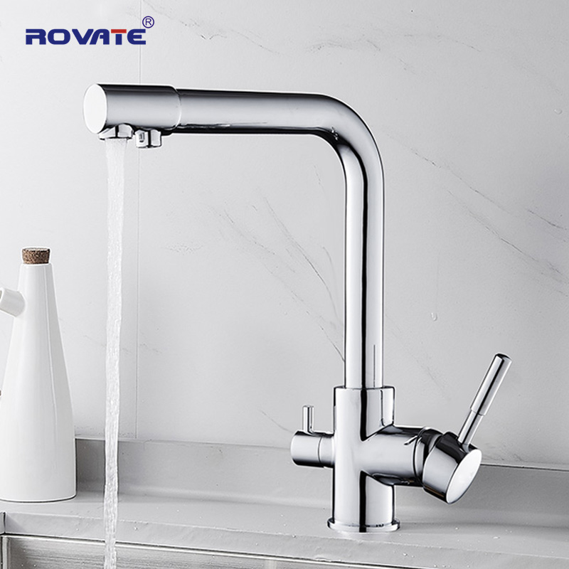 ROVATE Water Purifier Kitchen Faucet 360 Swivel, Dual Handle Drinking Tap With Filtered Water Cold Hot Crane Brass Chrome