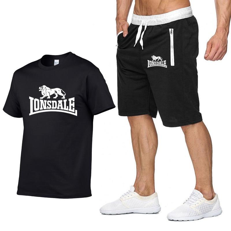 Fashion Brand Set Men Clothing 2020 Summer New 2pc Tracksuit Short Sweatshirt + Shorts Sets Beach Mens Casual Shirts Sportswears