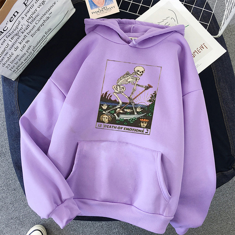 Print Anime Skull oversized Women Sweatshirt Kawaii Hoodies Hoody korean style Pullovers Female Full Sleeve top harajuku clothes 17