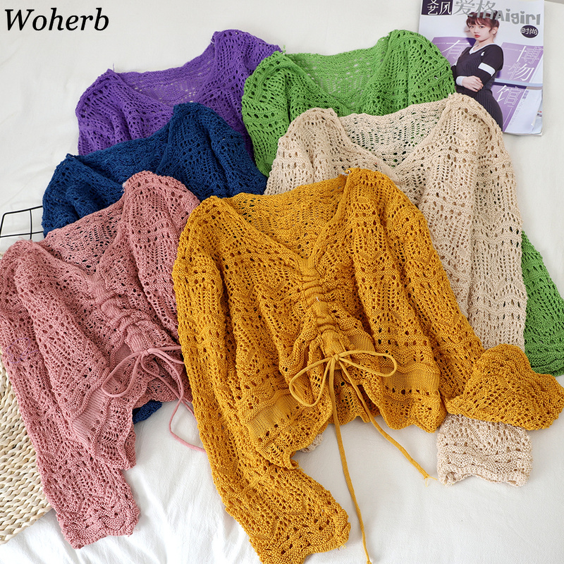 Woherb Womens Sweater Thin Loose Solid Female Pullover Short V-neck Hollow Out Knitted Drawstring Long Sleeve Ladies Tops 92221