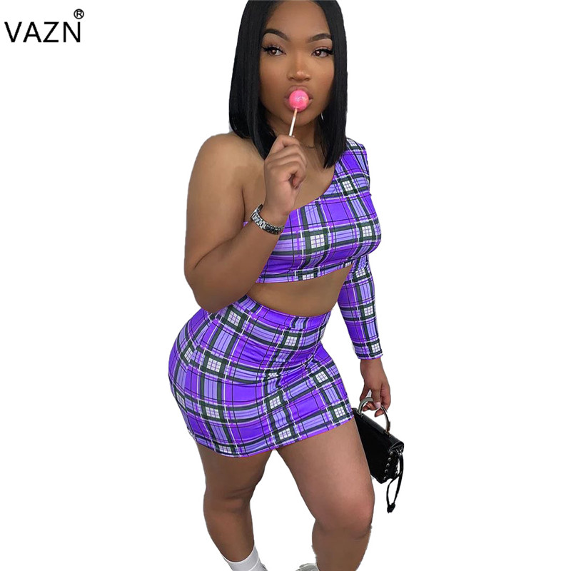 VAZN SM9036 Hollow Out Popular Plaid One Off Shoulder Mini Top Mini Skirts Slim Sexy Club Open Novelty Women 2 Pieces Sets