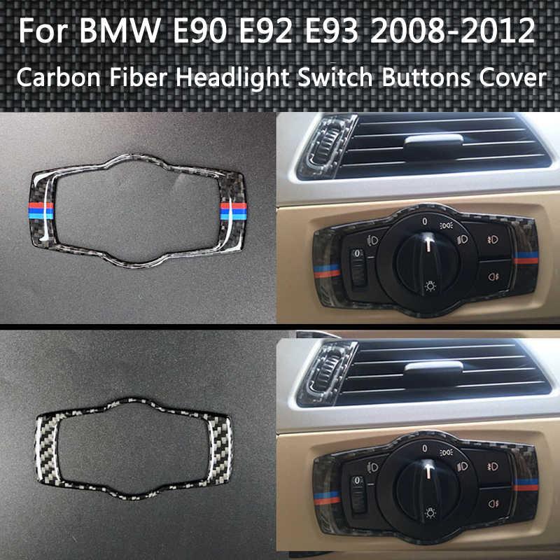 Pour BMW E90 E92 E93 3 Series 2005-2012 intérieur en Fiber de carbone phare interrupteur boutons couverture garniture voiture style autocollant accessoires