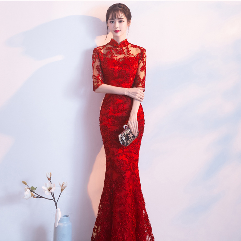 2020 New Lace Chinese Wedding Dress Women Slim Chongsam Female Chinese Traditional Dress Long/Short Sleeve Party Qipao