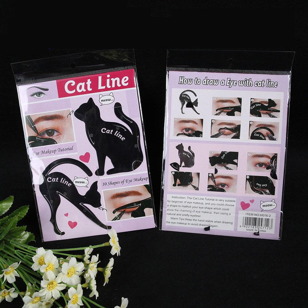 2Pcs Women Cat Line Pro Eye Makeup Tool Eyeliner Stencils Template Shaper Model Eyebrow Guide Makeup Tools