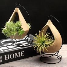 Flower Vase Hanging-Pot Soil-Hydroponic Pottery Succulent-Plant Table-Lamp Creative