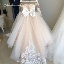 Ball-Gown Party-Dress Flower-Girl-Dresses Puffy Tulle Lace Long-Sleeve Illusion First-Communion