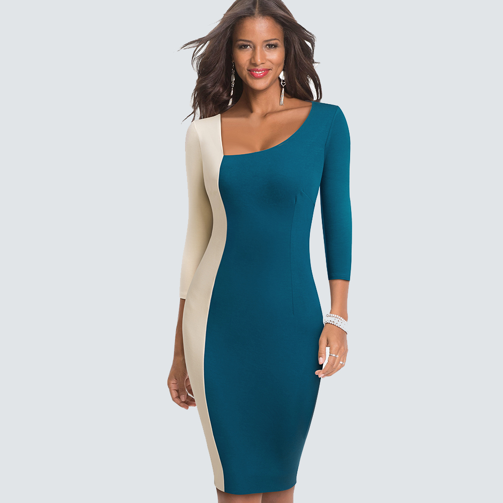 Women Elegant  Contrast Color Block  Asymmetric Neck Patchwork Business Fitted Sheath Bodycon Dress HB546