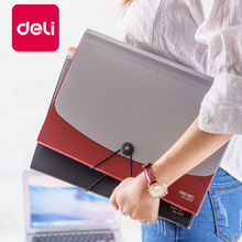 Deli 1PCS File Folder Multi Layer Student 13 grid A4 Organizer file box Paper Holder storage Organ bag Finishing Office Supplies