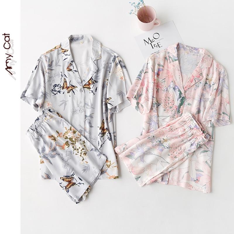 Summer Satin Blue Butterfly Flower Short Sleeve Shorts Two Piece Pajamas Turn-down Collar Viscose Sleepwear Printing Pyjamas