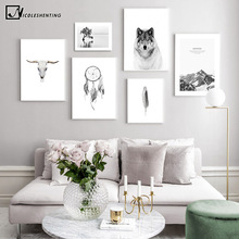 Scandinavian Poster Black White Landscape Wolf Skull Nordic Style Wall Art Canvas Print Painting Living Room Decoration Picture