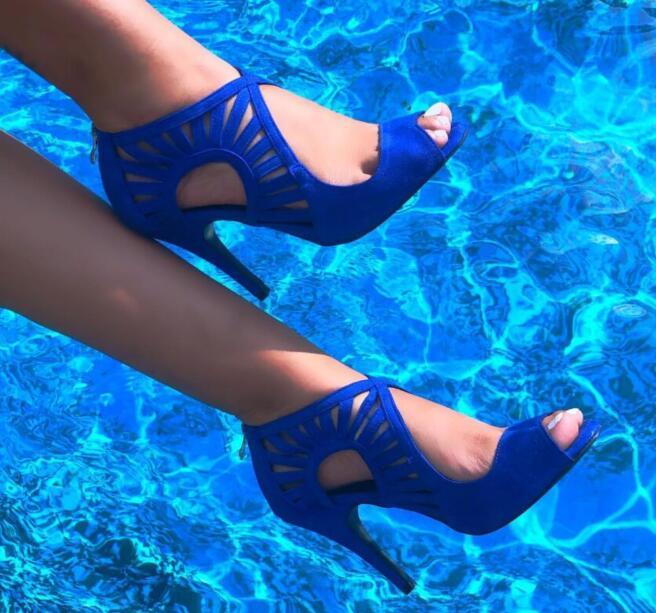 Ladies Blue Suede Latin Ballroom Dance Shoes Salsa Dance Shoes Tango Bachata Dancing Shoes