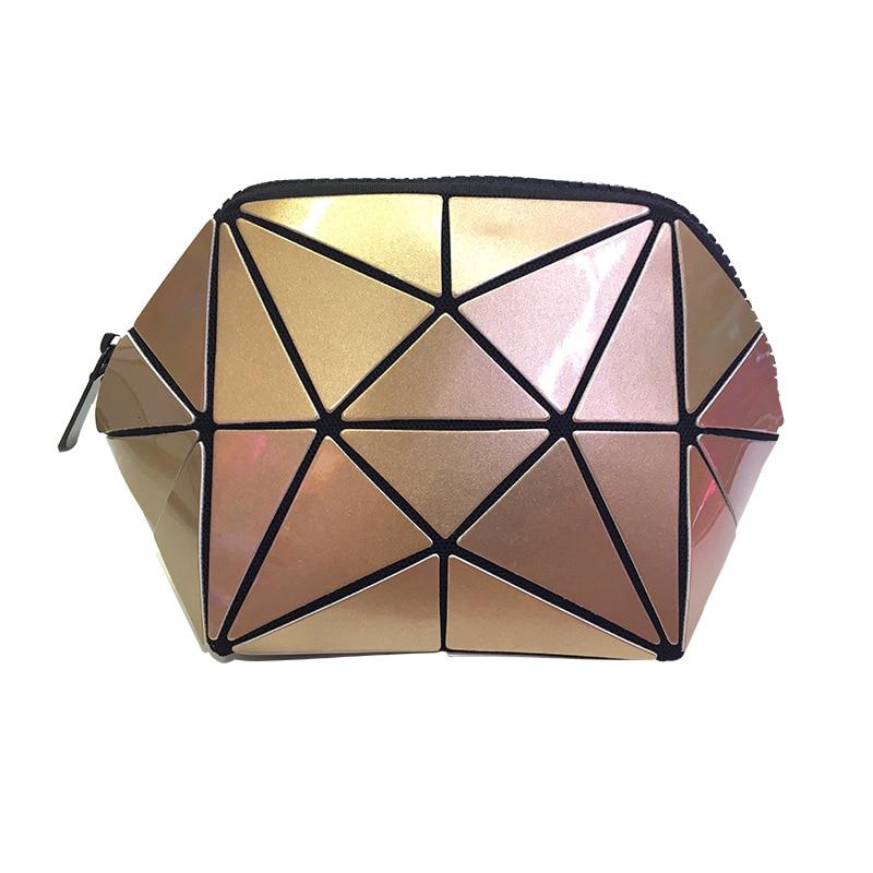 Rhombic Cosmetic Bag Irregular Semi-circular Cosmetic Storage Bag Geometric Rhombus Pattern Shell Makeup Bag