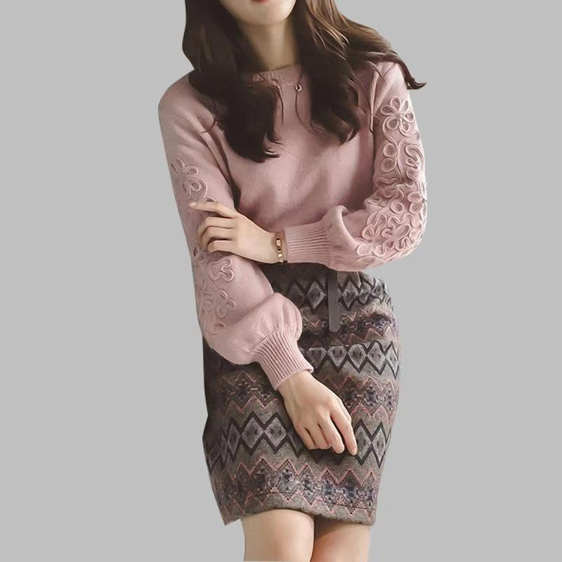 Women Winter Korean Embroidery Knitting Sweater +two Piece Tweed Wool 2 Piece Geometric Print Skirt Set