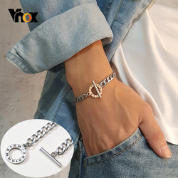 Vnox Men's Stylish Cuban Chain Bracelets with Roman Numerals Stainless Steel Never Fade Love Gifts for Him Jewelry