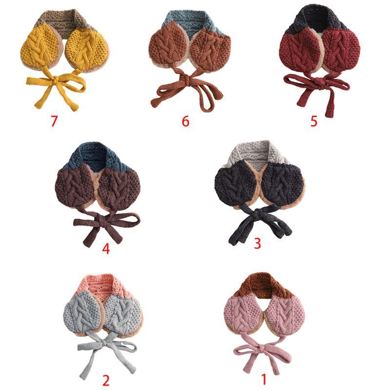 Fashion Lovely Girls Boys Earmuffs Wool Thread Children Dual-use Knitted Scarf
