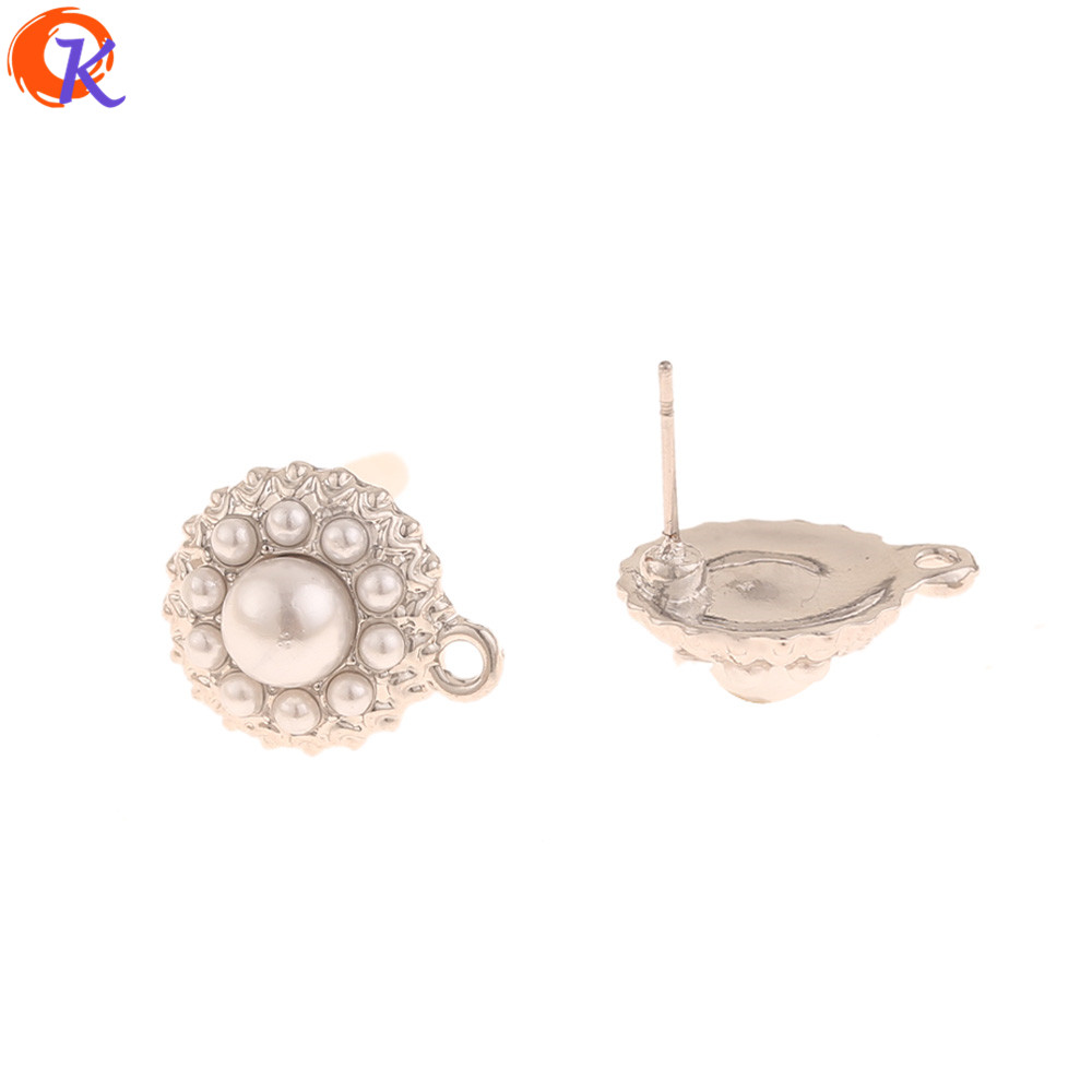 Cordial Design 50Pcs 13*16MM Jewelry Accessories/Earrings Stud/Imitation Pearl/Rhodium/Hand Made/DIY Making/Earring Findings