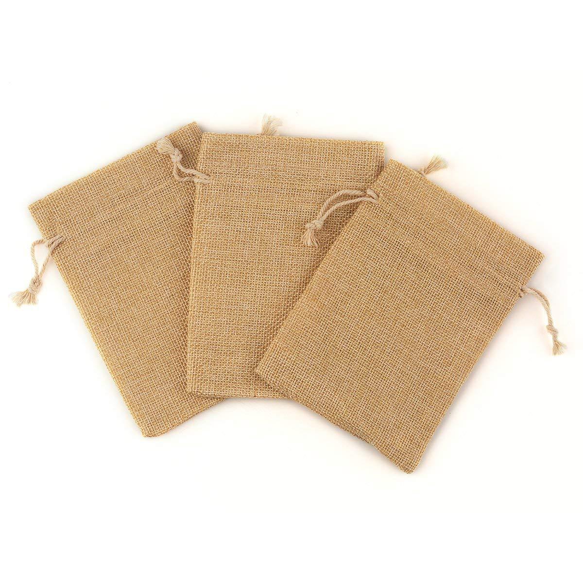 100 sacs de toile de jute de pièce avec des sacs-cadeaux de cordon pour la fête de mariage, projets d'art et d'artisanat, cadeaux, casse-croûte et bijoux, - 4
