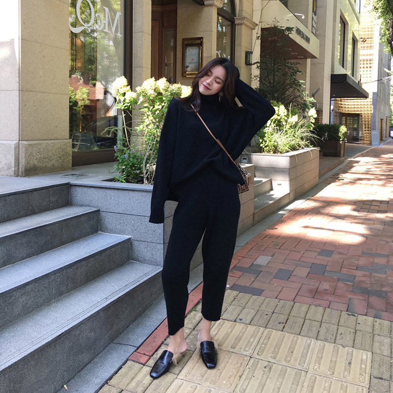 Image 3 - Autumn winter Knitted Tracksuit Turtleneck Sweatshirts for Women Suit Clothing 2 Piece Set Knit top Pant Female Pants Suit-in Women's Sets from Women's Clothing