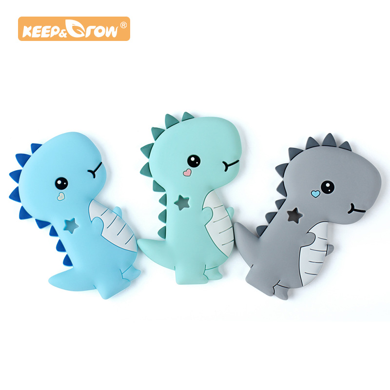 Keep&Grow 1 Pc Dinosaur Baby Teether Rodent Animal Silicone Beads Chew Charms Food Grade Silicone Teether Bead Toy Gift